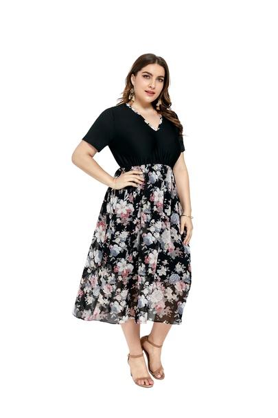 Plus Size V-neck Short-sleeved High-waist Chiffon Stitching Dress  NSLIB55580