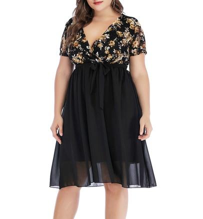 Plus Size Rose Printed Lace Splicing Chiffon V-neck High Waist Dress NSLIB55579