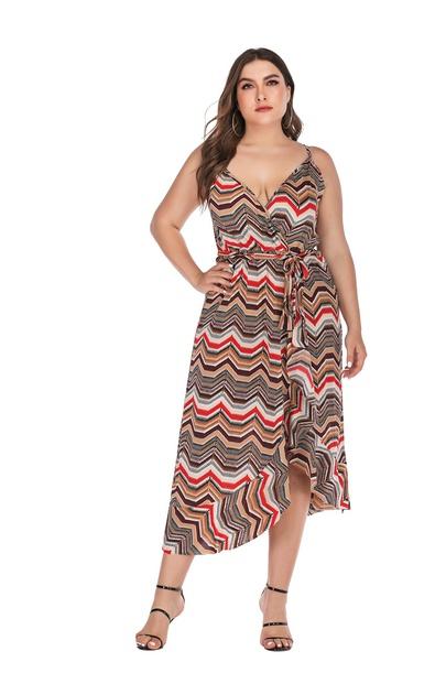 Printed V-neck Irregular Plus Size Long Sling Dress  NSLIB55577