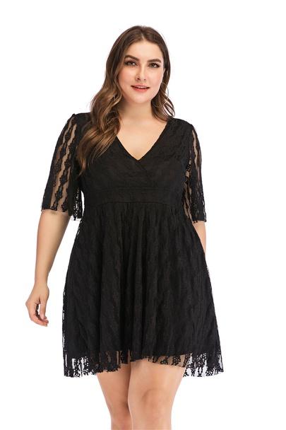 Plus Size V-neck Sexy Halter Waist Black Lace Dress  NSLIB55576
