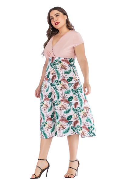 Large Size Short-sleeved V-neck High Waist Chiffon Printed Dress  NSLIB55574
